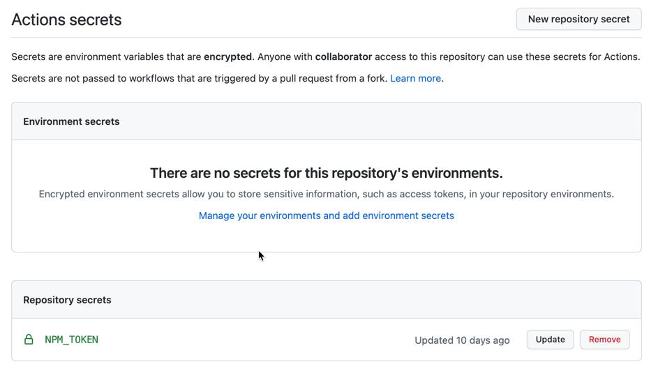 Add NPM_TOKEN repository secret